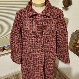 Vintage plaid wool swing coat